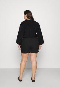 Simply Be - TIE FRONT BUTTON THROUGH BLOUSE - Button-down blouse - black - 2