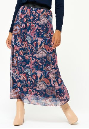 FLORAL - Pleated skirt - navy blue
