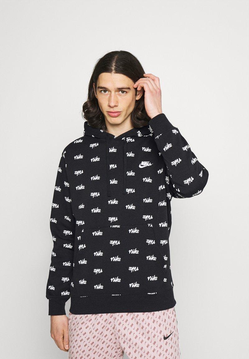 Nike Sportswear - CLUB HOODIE SCRIPT - Hoodie - black/white