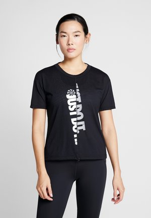 W NK ICNCLSH TOP SS - T-shirt print - black/white/reflective silver