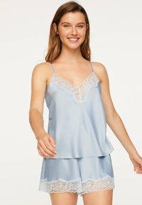 OYSHO - SATINTOP MIT SPITZE 30212204 - Pyjama top - light blue - 0