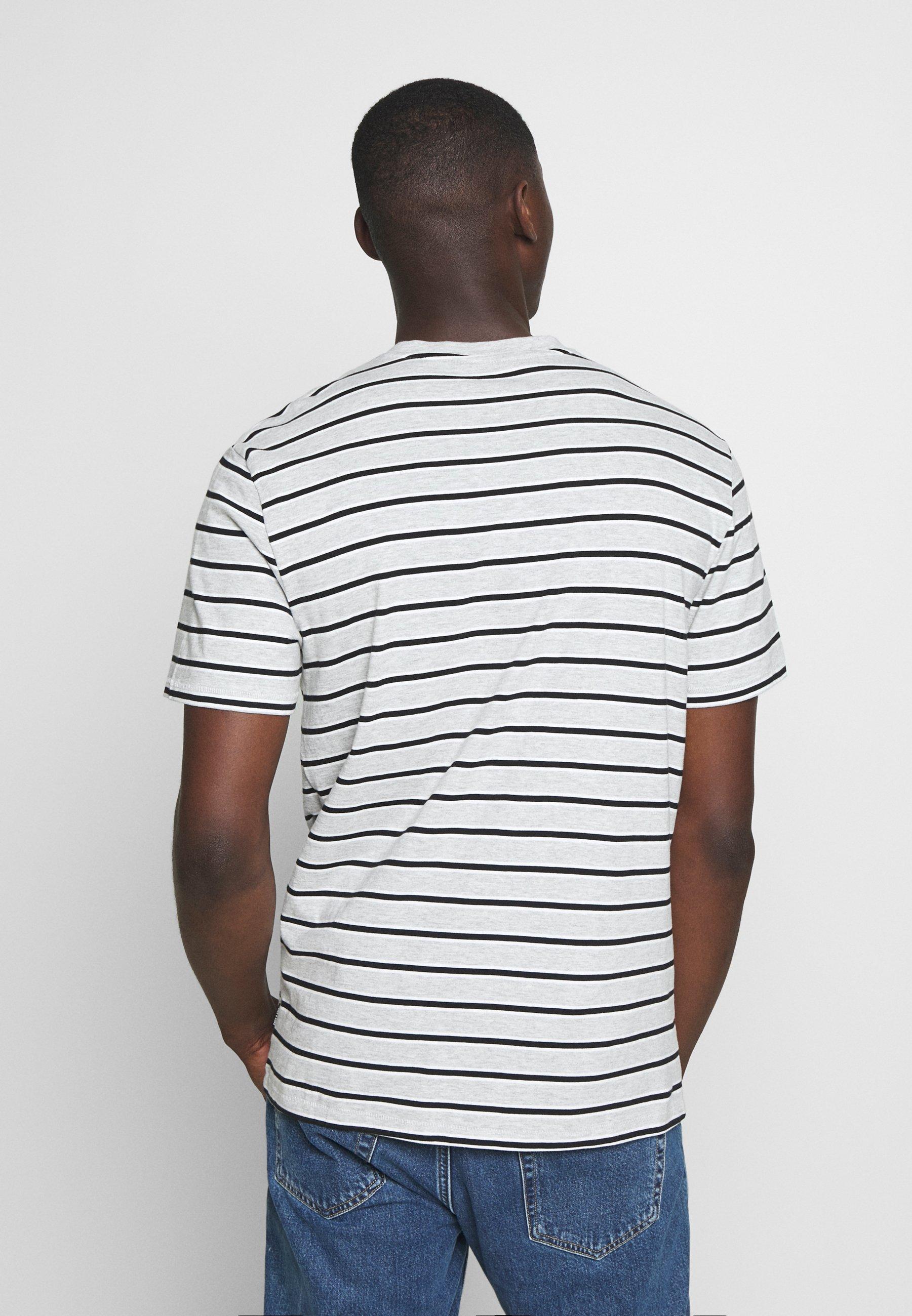 Only & Sons ONSMEL LIFE STRIPE TEE - Print T-shirt - light grey QbEUh