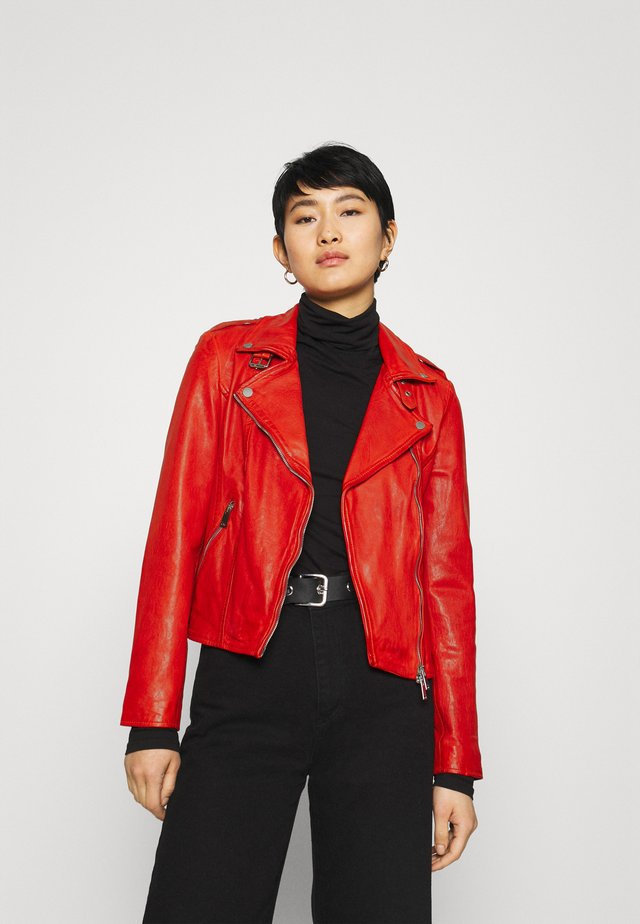 NEW UNDRESS ME - Leather jacket - hot coral