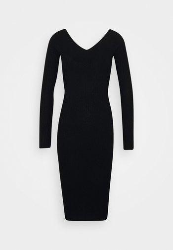 KNIT V NECK MIDI BODYCON DRESS - Shift dress - black