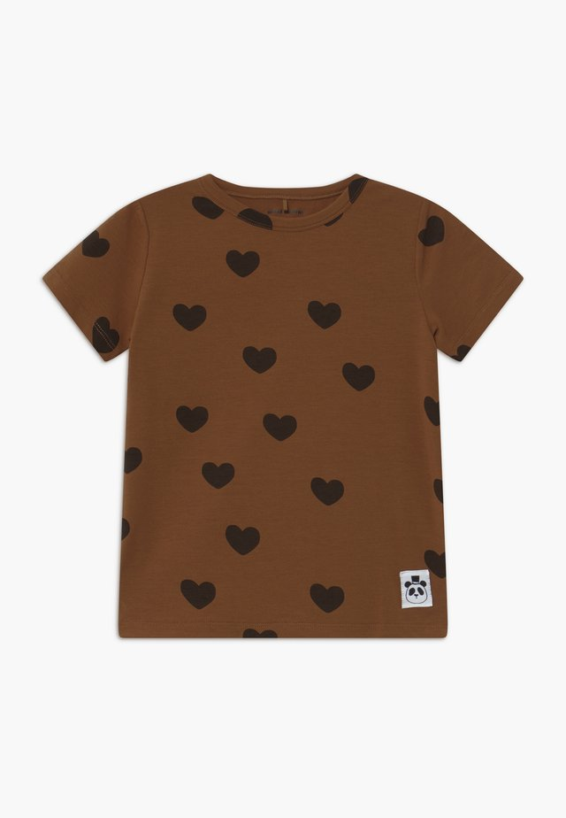 HEARTS TEE - Print T-shirt - brown