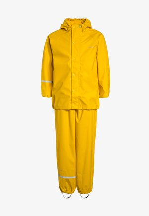 RAINWEAR SUIT BASIC SET WITH FLEECE LINING - Rain trousers - yellow