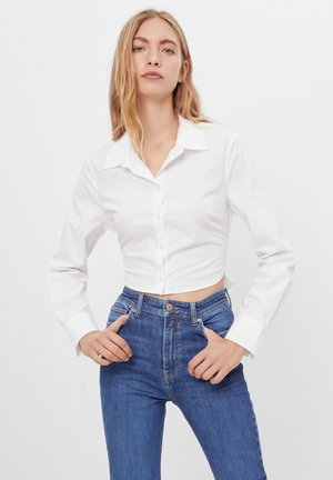 MIT SCHLEIFE - Button-down blouse - white