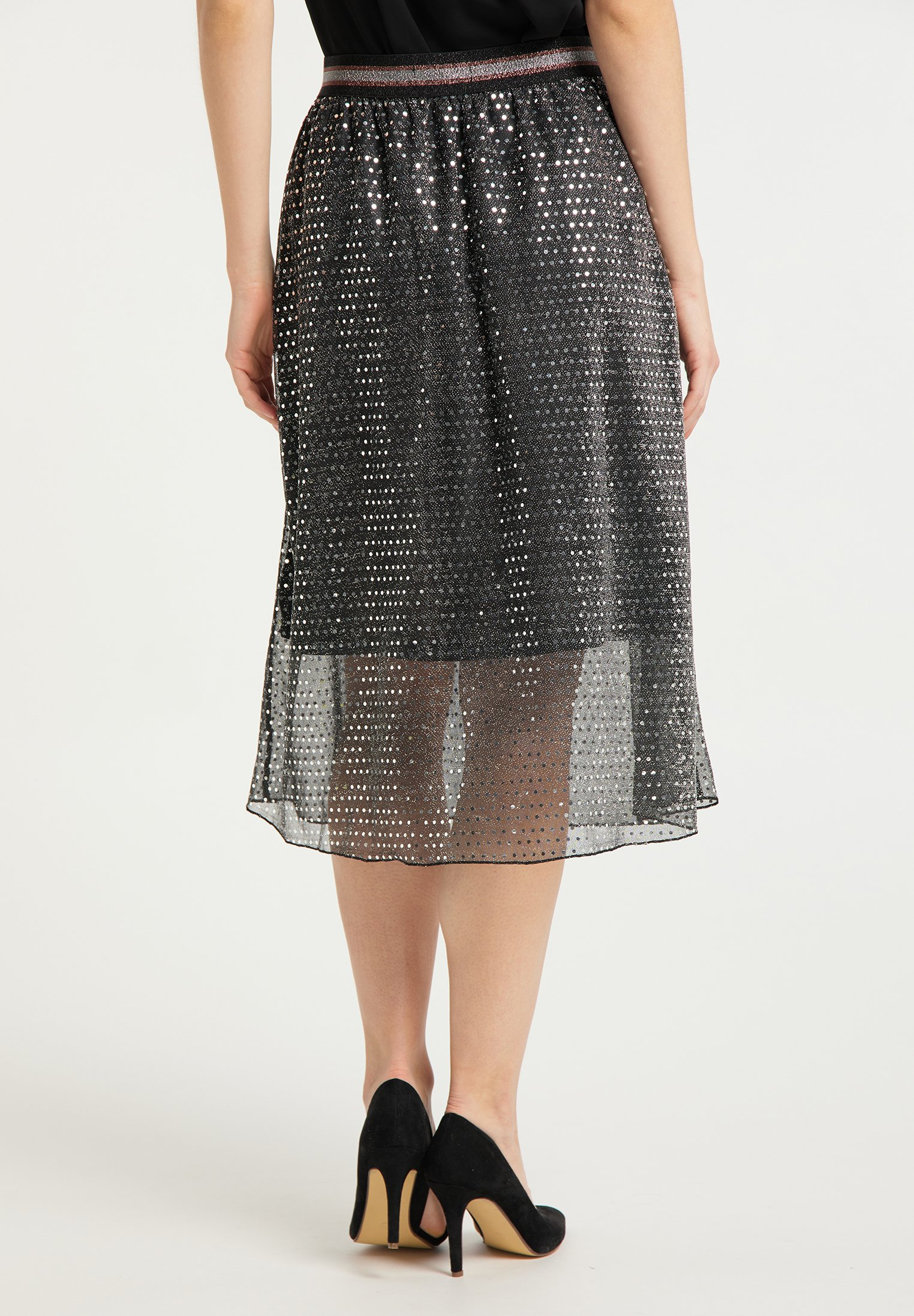 Fast Express Women's Clothing faina MIDIROCK Pleated skirt schwarz silber qFf5hOczG