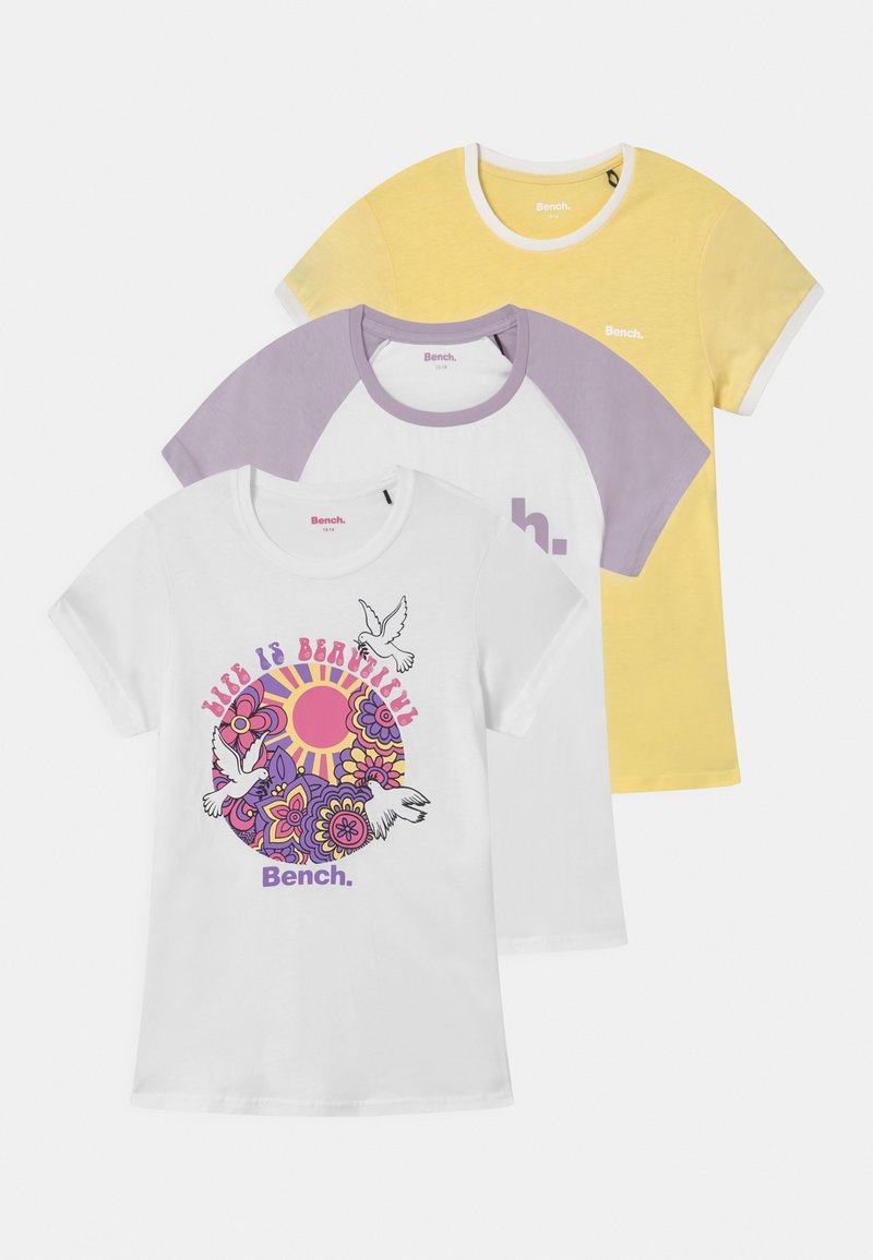 Bench - EMBERNA 3 PACK - Camiseta estampada - lemon/white/lilac
