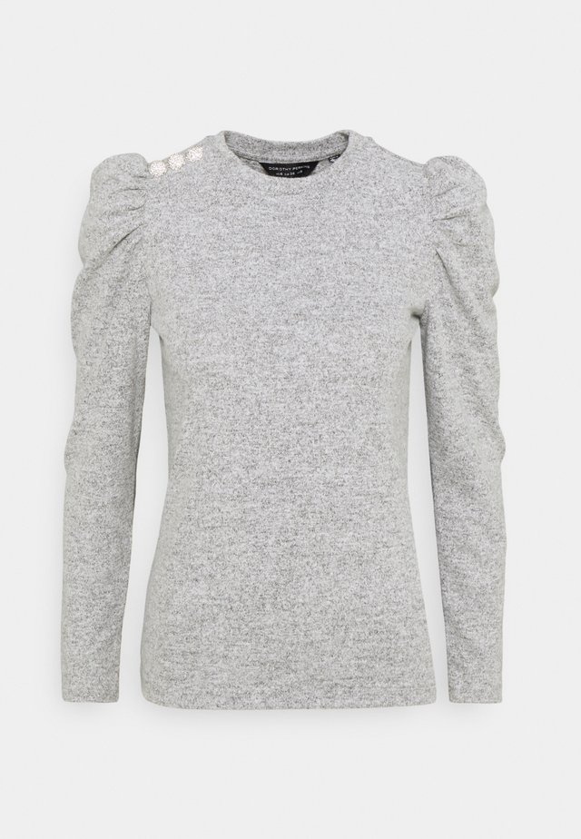 DIAMANTE PUFF SLEEVE BRUSHED - Jumper - grey