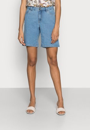 VICKY - Denim shorts - light blue washed denim