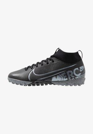 JR MERCURIAL 7 ACADEMY TF UNISEX - Voetbalschoenen voor kunstgras - black/metallic cool grey/cool grey