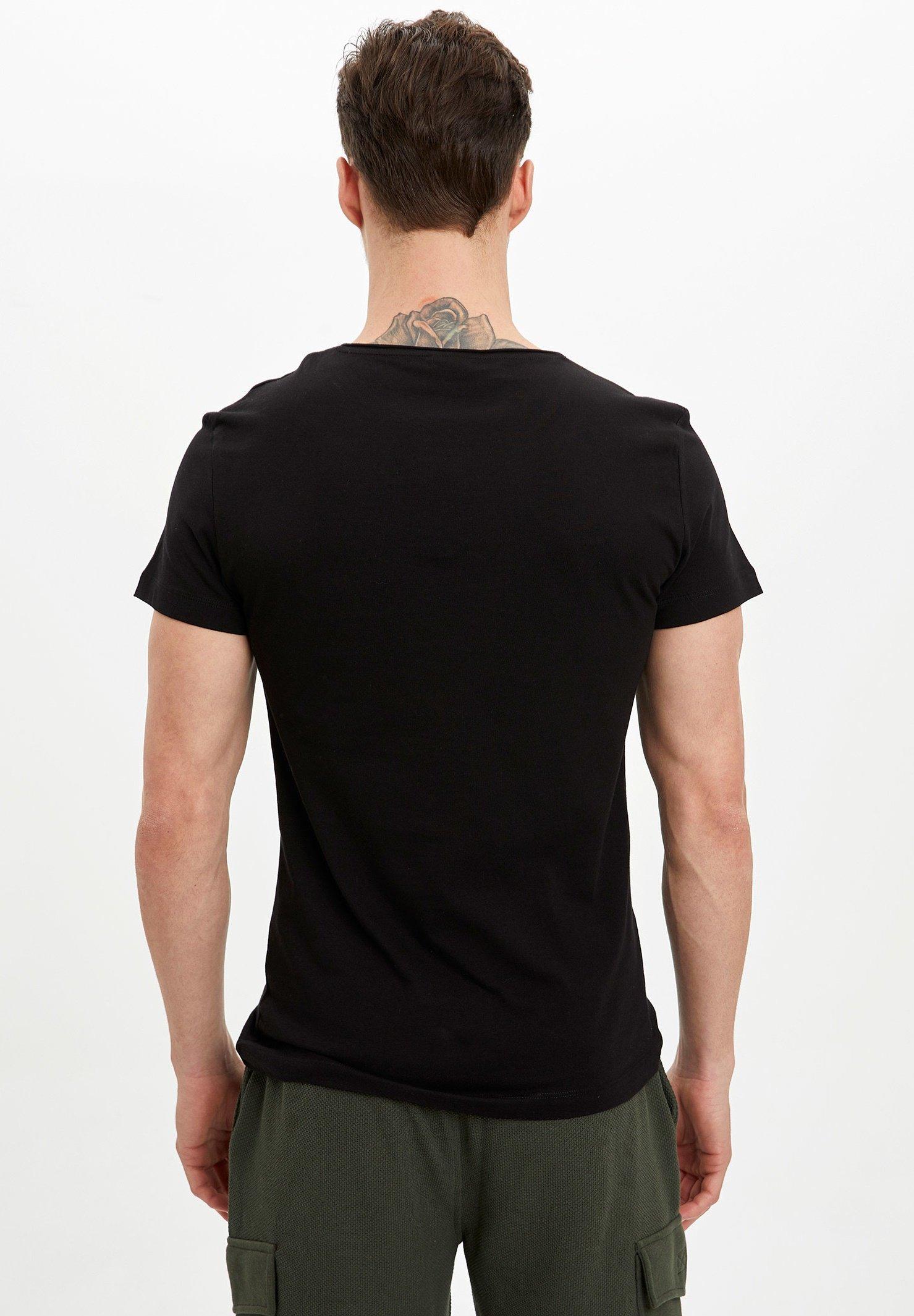 DeFacto Basic T-shirt - black LLqxp