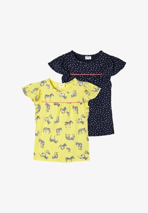 Print T-shirt - yellow aop/blue dots