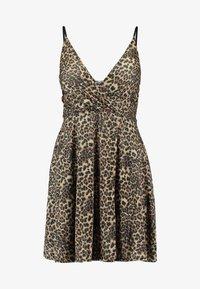 LEOPARD V NECKLINE DRESS - Jerseykjole - brown
