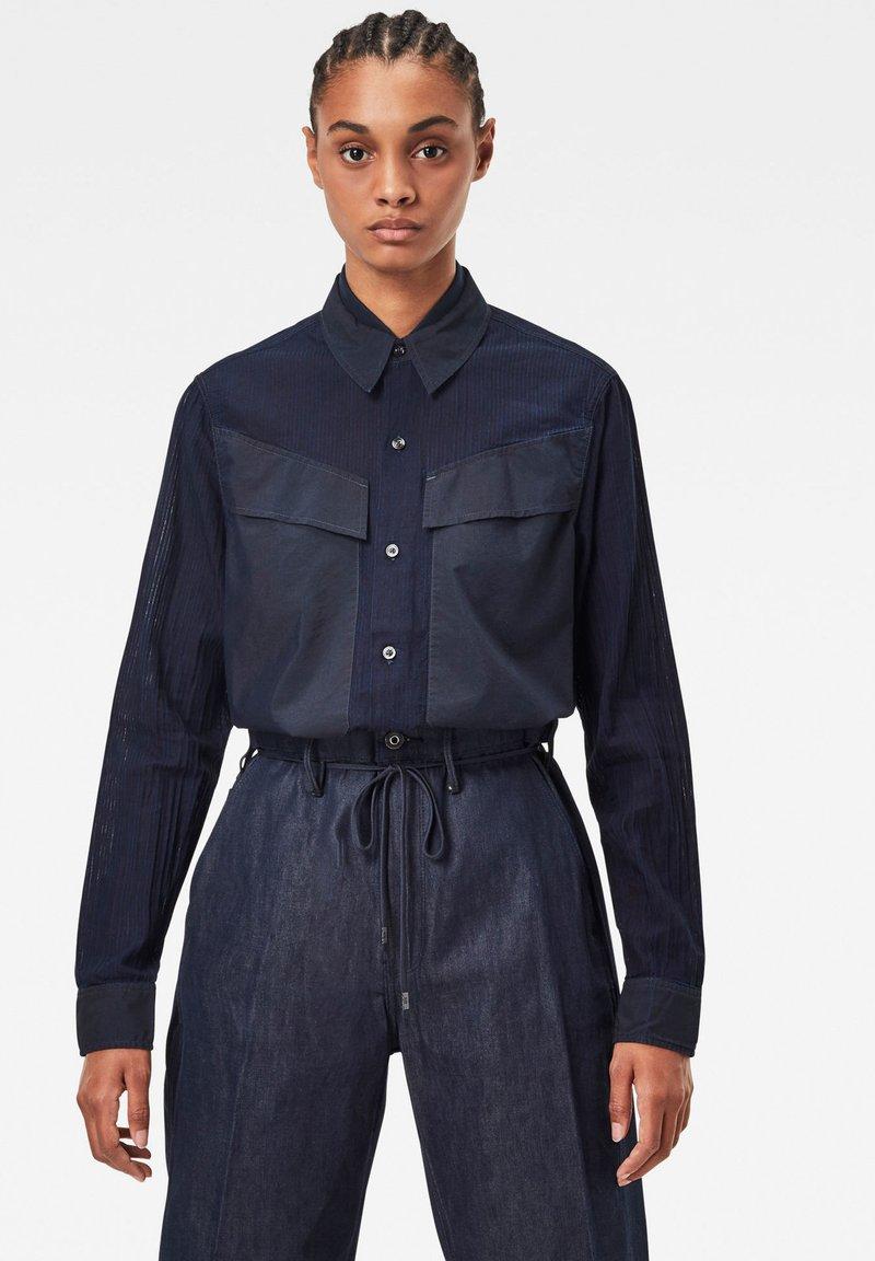 G-Star - REGULAR CARGO RIB LONG SLEEVE - Button-down blouse - rinsed