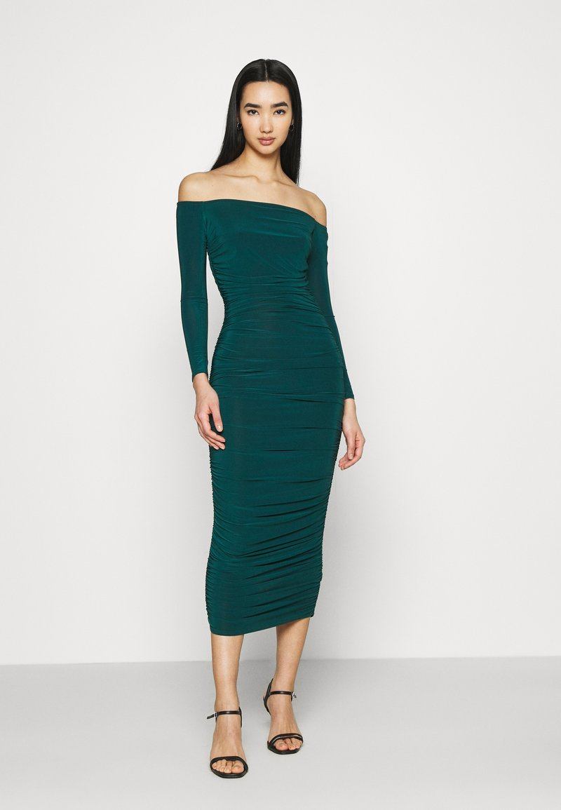 Missguided - BARDOT SLINKY RUCHED MIDAXI DRESS - Jerseykjole - deep green