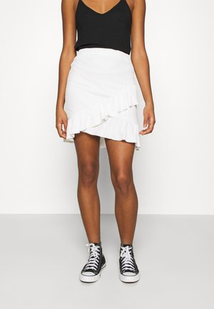 FRILL STRUCTURED SKIRT - Mini skirt - white