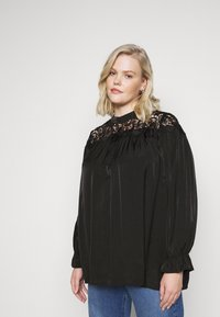 Glamorous Curve - BROIDERY TRIM BLOUSE WITH LONG SLEEVES AND HIGH-NECK  - Blouse - black - 3