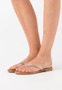 Tamaris - SLIDES - T-bar sandals - rose gold - 0