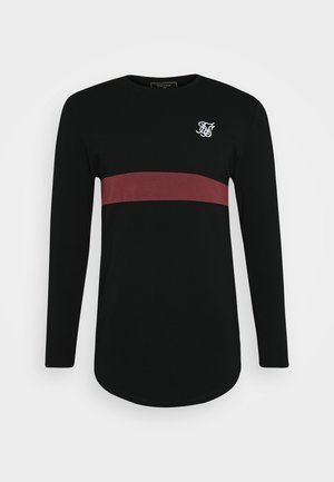 CUT & SEW TEE - Long sleeved top - black/wine
