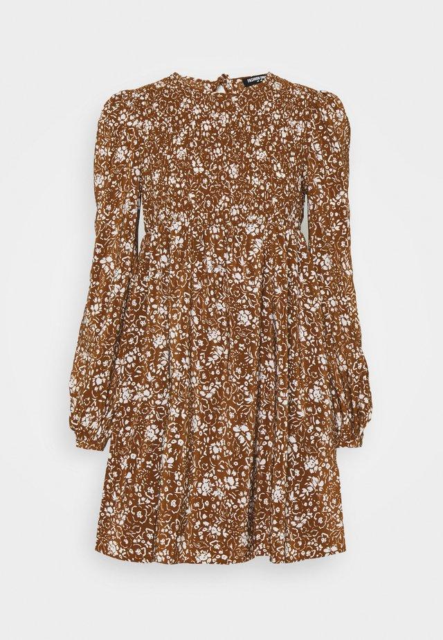 FLOWERPOT DRESS - Korte jurk - brown