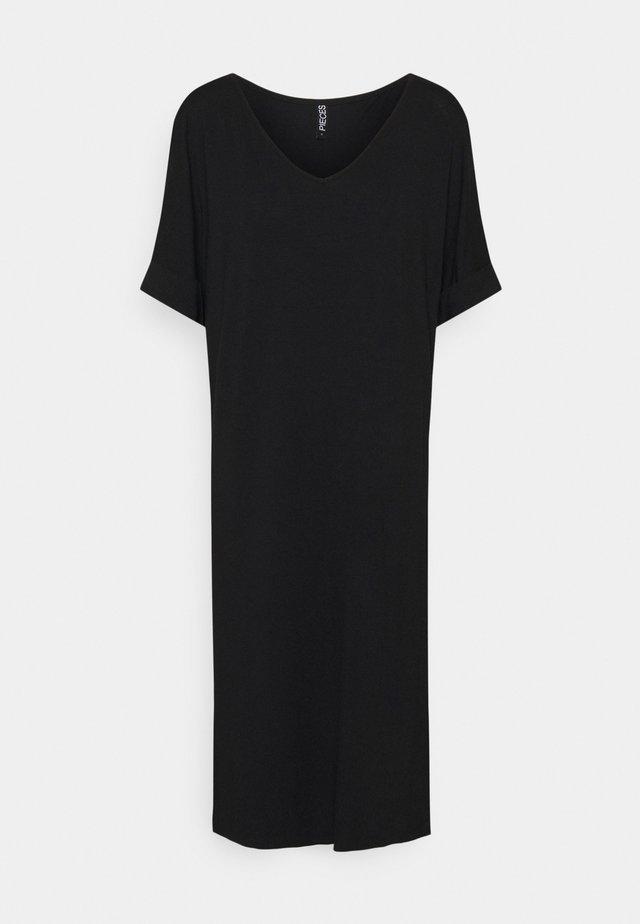 PCNEORA FOLD UP DRESS - Vestito di maglina - black
