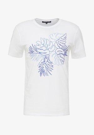 CREW NECK PRINTED PALM OUTLINE GRAPHIC - Triko spotiskem - white