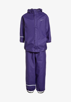 RAINWEAR SUIT BASIC SET WITH FLEECE LINING - Rain trousers - purple