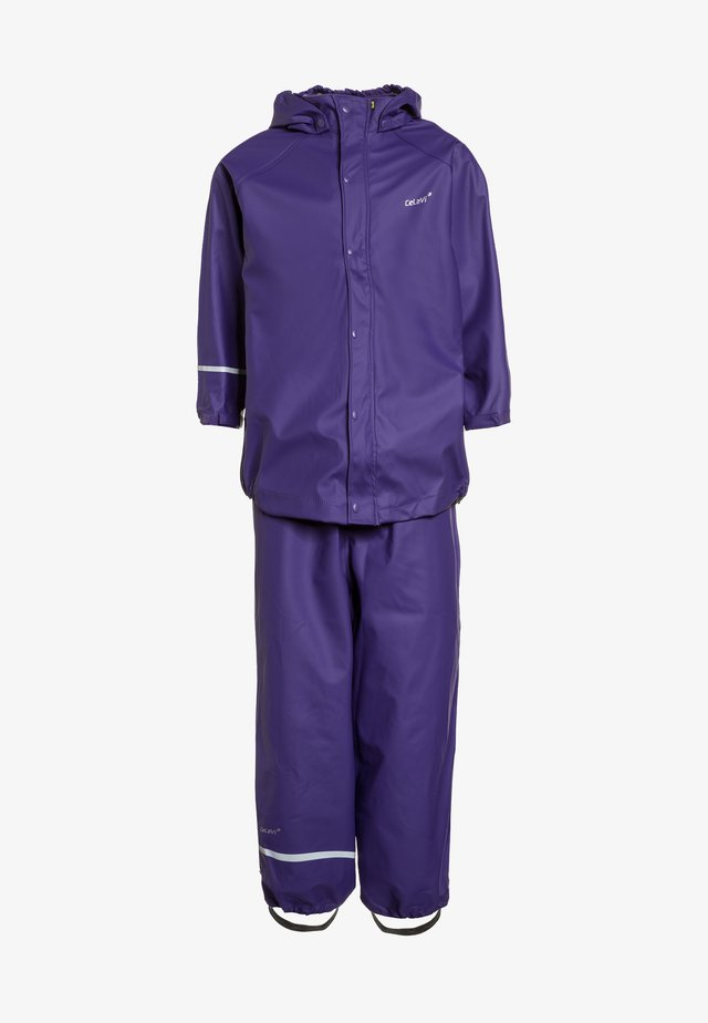 RAINWEAR SUIT BASIC SET WITH FLEECE LINING - Regnbyxor - purple
