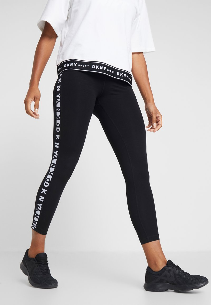 DKNY - TWO TONE LOGO HIGH WAIST LEGGING - Leggings - black