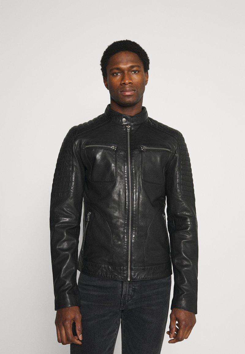 Goosecraft - ADRIAN BIKER - Kožená bunda - black