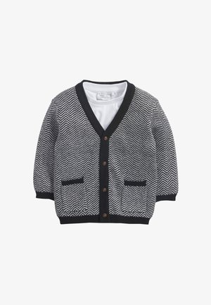 HERRINGBONE BUTTON THROUGH SET - Cardigan - black