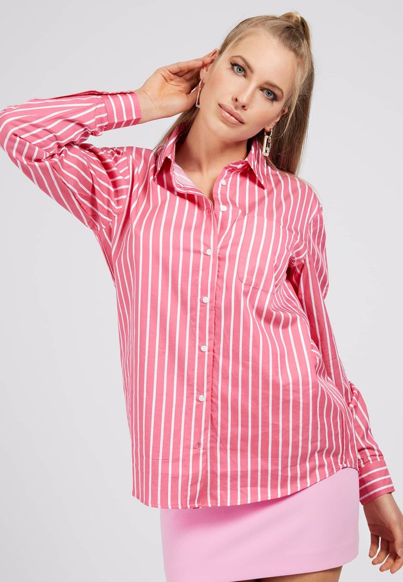Guess - POPELINE - Button-down blouse - mehrfarbe rose