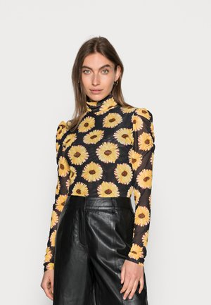 JANE PUFFED SLEEVE - Long sleeved top - black/saffron