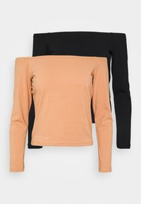 Long sleeved top - camel/black