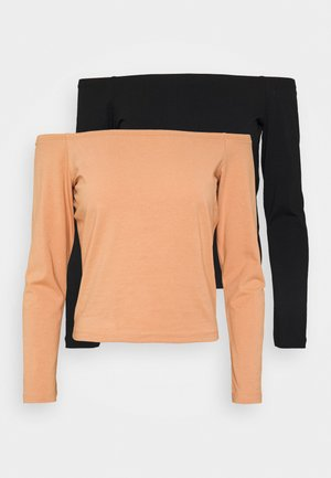 Long sleeved top - camel/black