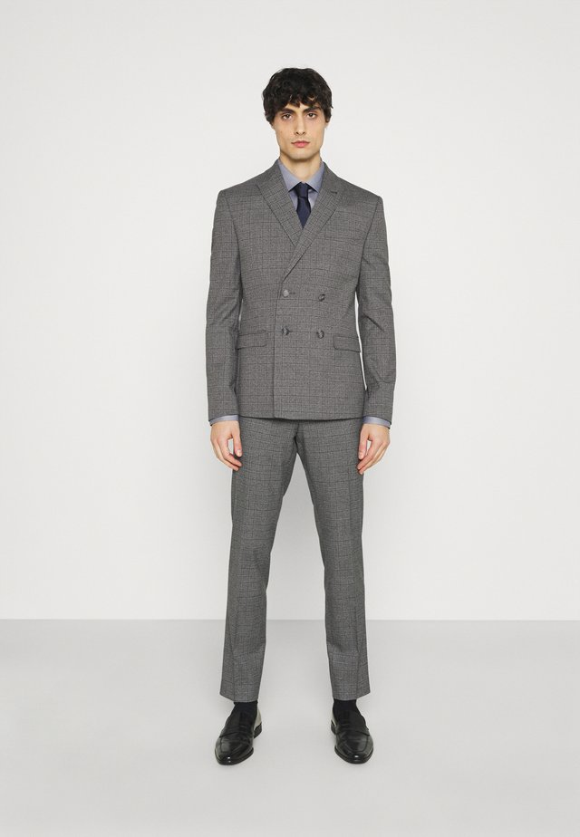 CHECK DOUBLE BREASTED SUIT - Garnitur - grey