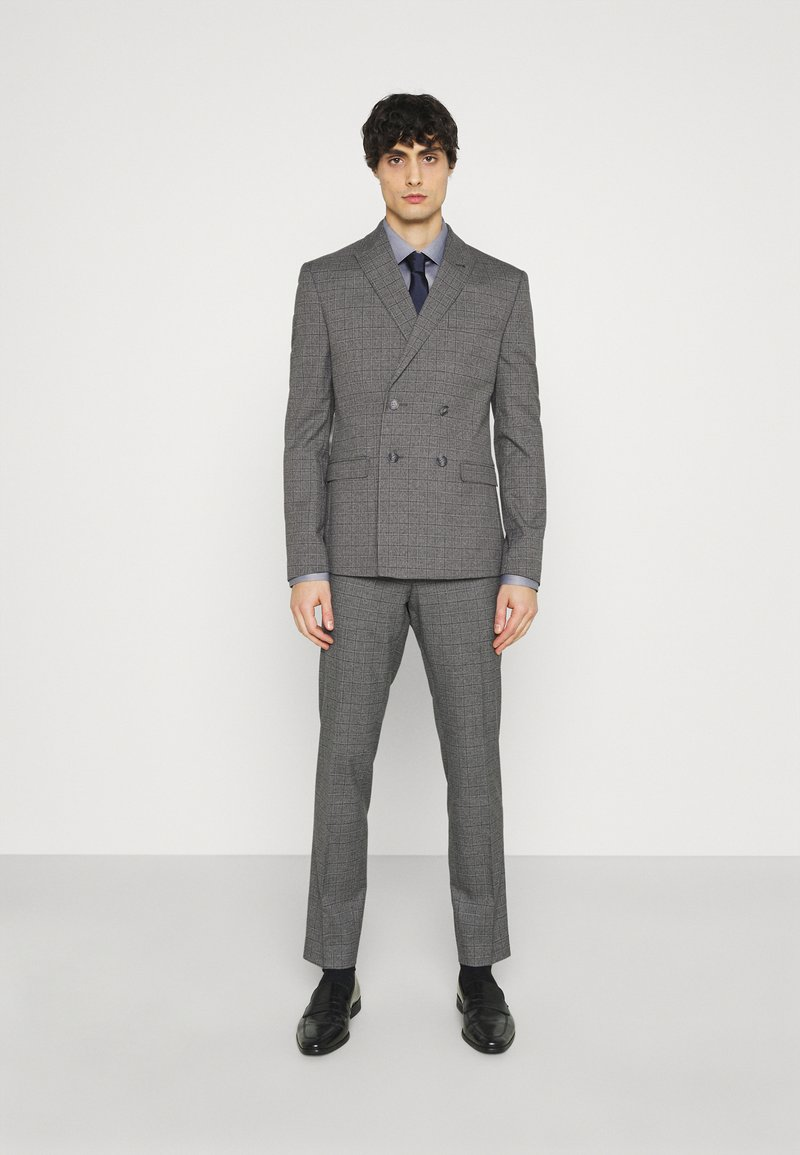 Isaac Dewhirst - CHECK DOUBLE BREASTED SUIT - Oblek - grey