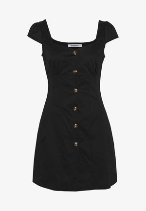 CAP SLEEVE MINI DRESS WITH BUTTON DETAIL - Sukienka letnia - black