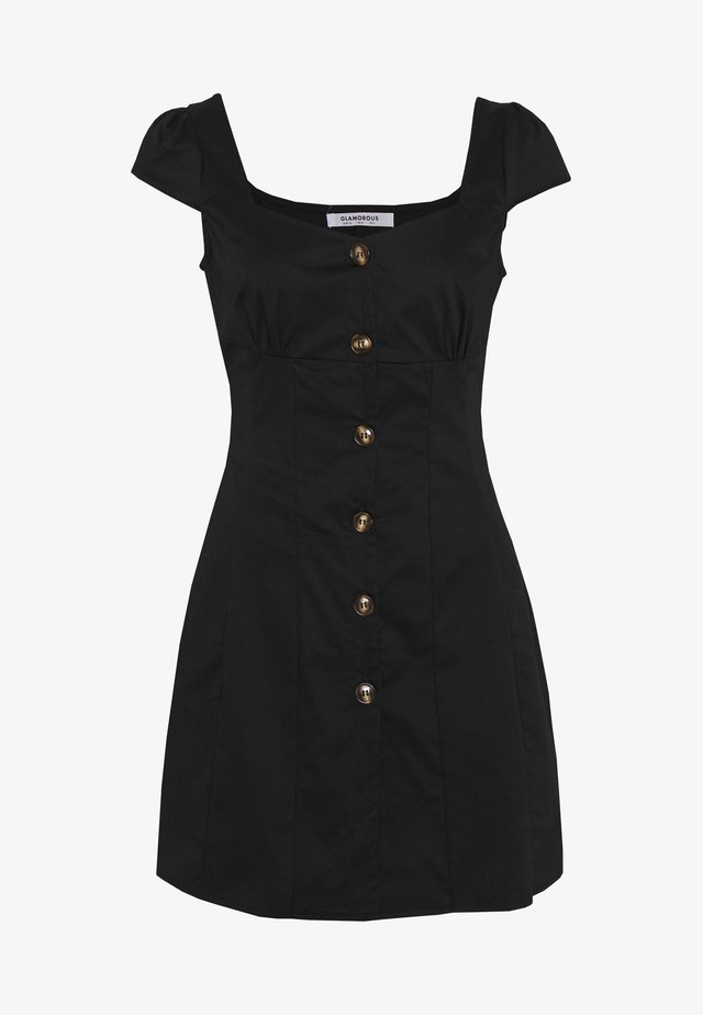 CAP SLEEVE MINI DRESS WITH BUTTON DETAIL - Day dress - black