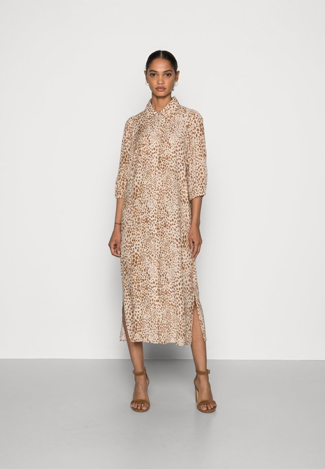 DRESS WITH LEO PRINT - Shirt dress - beige