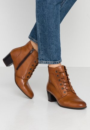 LEATHER BOOTIES  - Tronchetti - cognac