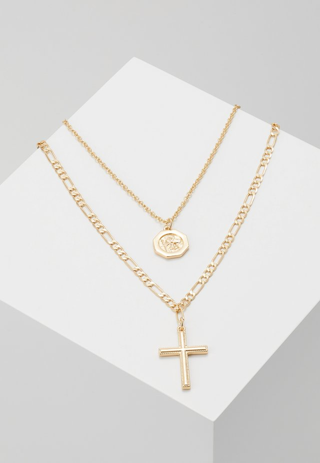 CROSS AND DISC CHAIN MULTIROW - Smykke - gold-coloured