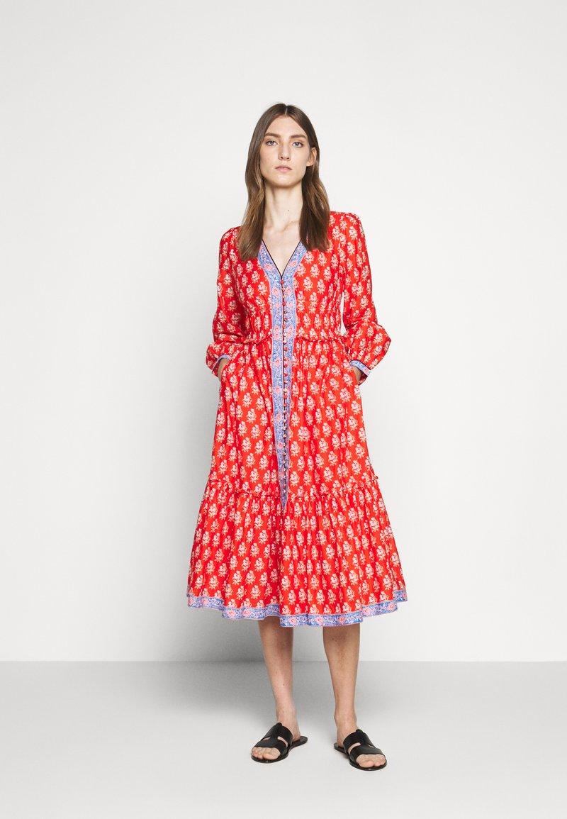 J.CREW - DRESS IN BLOCKPRINT - Košilové šaty - cerise cove/multi