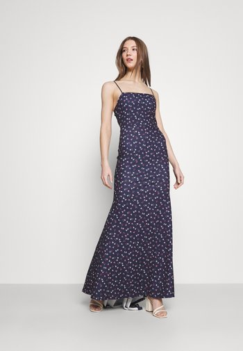 FLORAL CAMI FISHTAIL BRIDESMAID DRESS - Jerseykjole - navy