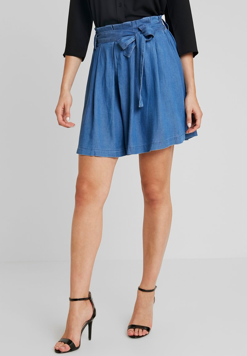 Vila - VIBISTA SHORT SKIRT - A-line skirt - dark blue denim