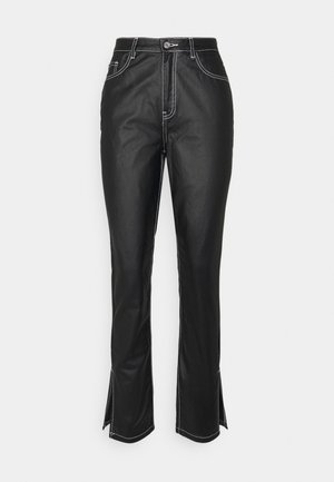 CONTRAST STITCH COATED WRATH - Trousers - black