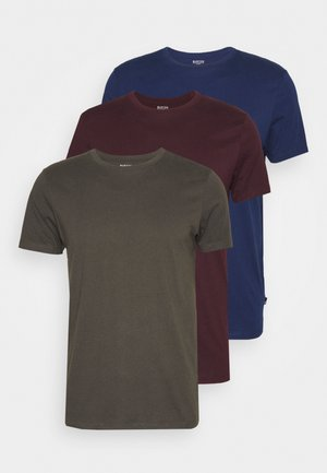 SHORT SLEEVE CREW 3 PACK - Basic T-shirt - indigo/burgundy/khaki