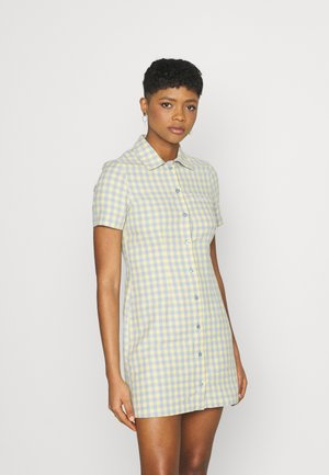 GINGHAM SHIRT DRESS - Shirt dress - blue/yellow